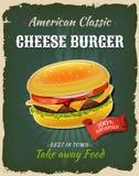 Retro Fast Food Cheeseburger Poster Stock Image