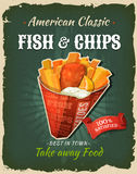 Retro Fast Food Fish And Chips Poster. Illustration of a design vintage and grunge textured poster, with english fish and chips cornet, for fast food snack and Royalty Free Stock Image
