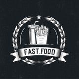 Retro fast food illustration. Hipster emblem logo design. French fries and soda icons royalty free illustration