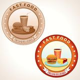 Retro Fast Food Labels. Vector illustration. Stock Photos