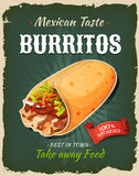 Retro Fast Food Mexican Burritos Poster stock illustration