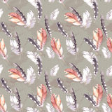Retro feathers art. Vintage watercolor seamless pattern royalty free illustration