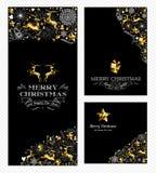 Retro- Feiertag des gesetzten Rens des Weihnachtsneuen Jahres Gold Lizenzfreie Stockfotos