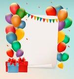 Retro- Feiertagshintergrund mit bunten Ballonen Stockfotos