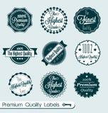 Retro- feinste Qualitätskennsätze und -aufkleber Lizenzfreies Stockfoto