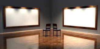 Retro- Feld 3d mit altmodischen Stühlen Stockfoto