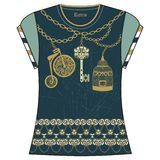 Retro female fashion t-shirt print design of heraldic key, bird cage, bike, chain gold and turquoise color. vector illustration