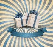 Retro feriebakgrund med blå gåvabandintelligens royaltyfri illustrationer