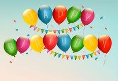 Retro feriebakgrund med färgrika ballonger Royaltyfria Bilder
