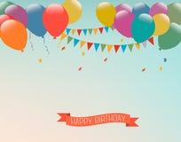 Retro feriebakgrund med färgrika ballonger och en lyckliga Birt Arkivfoton