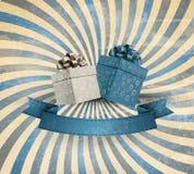 Retro feriebakgrund med gåvabandet med gif vektor illustrationer
