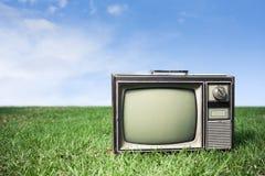 Retro- Fernsehapparat auf Gras Stockfotos