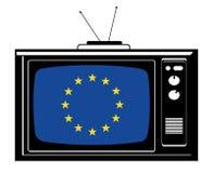 Retro- Fernsehapparat mit Europa-Markierungsfahne Lizenzfreie Stockbilder