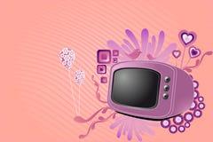 Retro- Fernsehapparat mit stilvollen süßen Auslegungelementen Lizenzfreie Stockfotografie