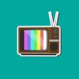 Retro- Fernsehaufkleber für Geschäft Stockfotografie