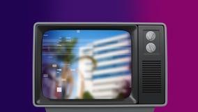 Retro- Fernseheinschaltung und Palme und Gebäude und nachher abstellen lizenzfreie abbildung