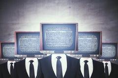 Retro- Fernsehen ging Geschäftsmänner voran stock abbildung