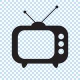 Retro- Fernsehikone in der flachen Art, Retro- Fernsehschwarzweiss-ikone, Vektorillustration Retro- Fernsehikone für Sie entwerfe vektor abbildung