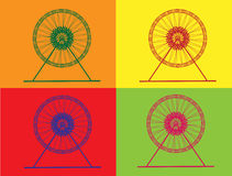 Retro Ferris Wheel. With isolated background 4 style pop art Stock Image