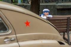 Retro festival 'Dagen van geschiedenis' in Moskou Stock Foto's