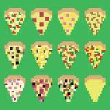 Retro fette della pizza del pixel nel vettore Fotografia Stock