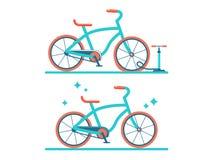 Retro fiets vector vlakke illustratie Reeks van twee fietsen vector illustratie