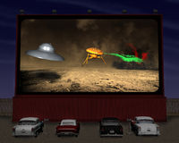 Retro Fifties Movie Theater Drive In Illustration Royalty Free Stock Photo