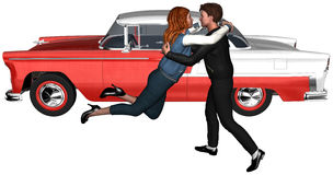 Retro Fifties Teenagers Couple Isolated. Illustration of teenagers in love, a boy and girl. Retro image from the fifties with a vintage classic car in the Royalty Free Stock Image