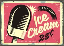 Retro fifties tin sign with delicious ice cream. On pink background, Vintage vector illustration Royalty Free Stock Images