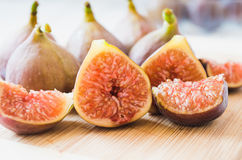 Retro Figs on white wooden boards Royalty Free Stock Image