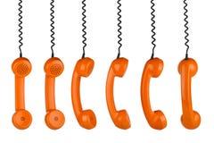 Retro fila del microtelefono immagini stock libere da diritti