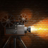 Retro Film Background. Retro film wallpaper with realistic projector and spotlight on brick wall background vector illustration Royalty Free Stock Photography