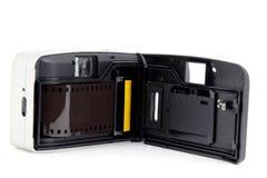Retro film camera. Back side of Retro film camera Royalty Free Stock Photo