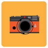 Retro film camera black body with orange leather Stock Image
