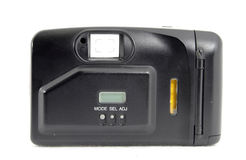 Retro film camera. Black side of Retro film camera Stock Photo