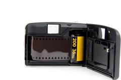 Retro film camera. Black side of Retro film camera Stock Photography
