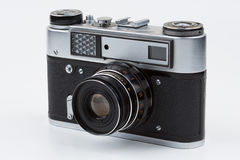 Retro film camera on a white background. Fed stock images