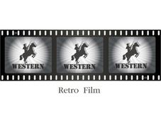 Retro film, cowboy on horseback Stock Photography