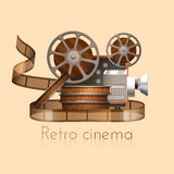 Retro Film Illustration. Retro cinema concept with realistic vintage camera projector and film reel vector illustration Royalty Free Stock Image