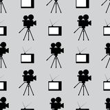 Retro film industry seamless pattern. Repetitive vintage TVs and camcorders. Seamless pattern. Black, white, gray. stock illustration