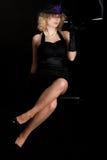 Retro Film noir girl cigarette holder Stock Photography