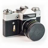 Retro film photo camera isolated on white background. Old analog Stock Photos
