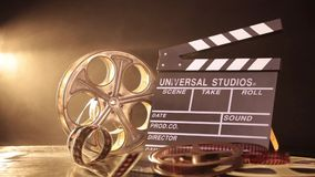 Retro film production accessories still life stock video footage