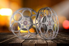 Retro film production accessories still life. Concept of film-making. stock images