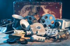 Retro film production accessories still life stock images