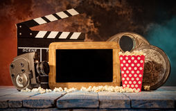 Retro film production accessories still life. Royalty Free Stock Images