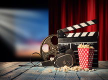 Retro film production accessories still life. Royalty Free Stock Photography