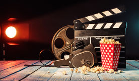 Retro film production accessories still life. Royalty Free Stock Image