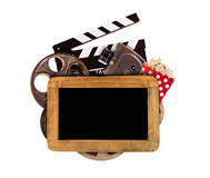 Retro film production accessories on white background Royalty Free Stock Photography