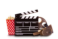 Retro film production accessories on white background Stock Photography